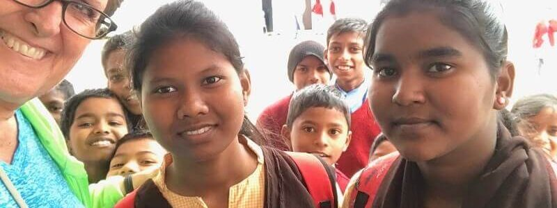 Two young girls in the India child sponsorship program